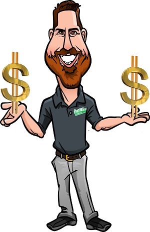 mark caricature with dollar signs in hands